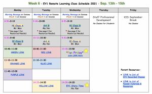 Week 6 schedule