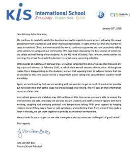 Primary School Letter 28012020