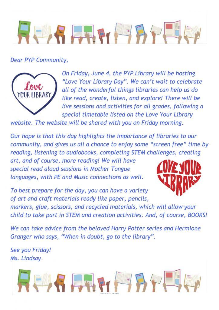 Dear PYP Community (Ms. Lindsay)