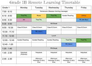 Class B Timetable