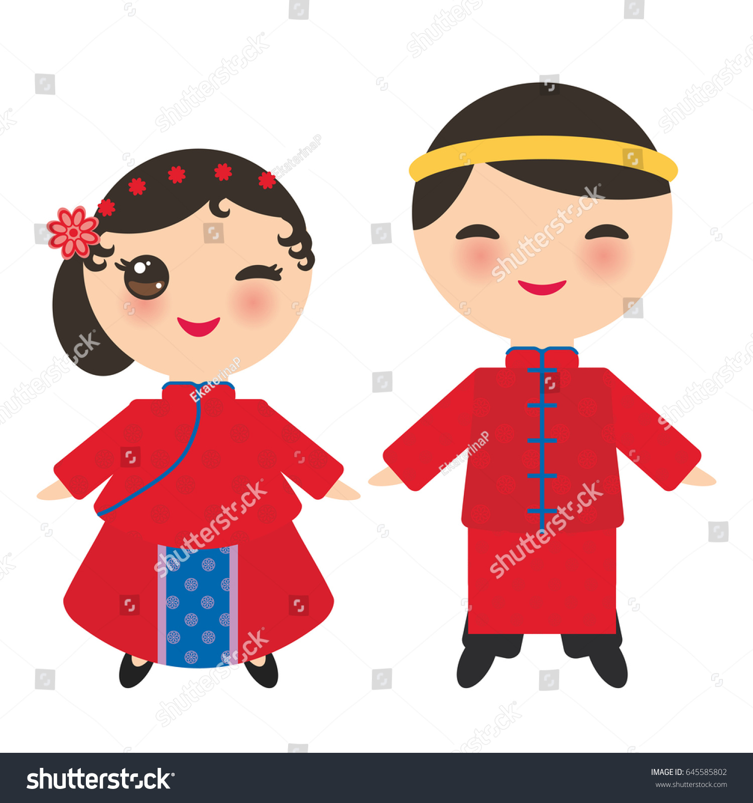 stock-vector-chinese-boy-and-girl-in-national-costume-and-hat-cartoon-children-in-traditional-china-dress-645585802
