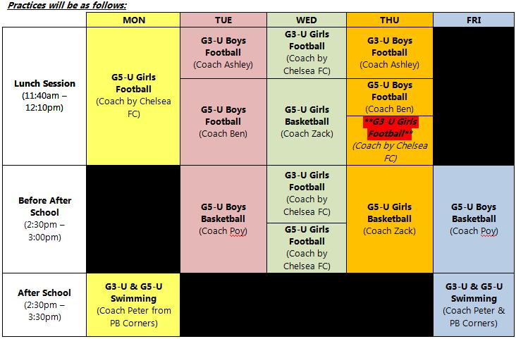 Primary Training schedule