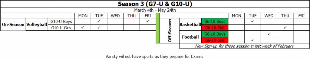 Season 3 Training Schedule